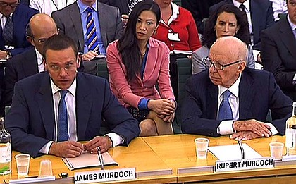 James, Wendy and Rupert Murdoch front the British Parliamentary Committee on Media, Culture and Sport, 2011. Image: Sydney orning Herald.