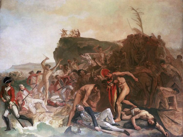 The death of Captain James Cook, 14 February 1779, by Johann Zoffany. Image: Wikimedia Commons